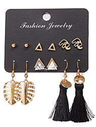 cheap -Women's Earrings Set Tassel Leaf Ball Ladies Bohemian Fashion Elegant Earrings Jewelry Gold For Daily Club 6 Pairs