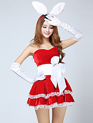 cheap -Santa Clothes Women's Adults Halloween Christmas Christmas Halloween Carnival Festival / Holiday Polyster Outfits Red Solid Colored Christmas