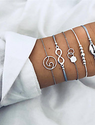 cheap -Women's Vintage Style Beads Handmade Link Bracelet - Shell Infinity, Shell Geometric, Casual / Sporty, Fashion Bracelet Silver For Birthday Evening Party / 5pcs