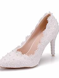 cheap -Women's Lace / PU(Polyurethane) Spring &  Fall Sweet Wedding Shoes Stiletto Heel Pointed Toe Imitation Pearl White
