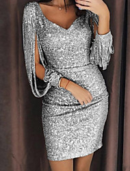cheap -Women's Split Party Cocktail Party New Year Glitters Sexy Split Sleeve Slim Bodycon Dress - Solid Color Sequins Deep V Glitter Deep U Spring & Summer Black Silver Yellow S M L XL
