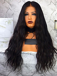cheap -Remy Human Hair Lace Front Wig Wendy style Brazilian Hair Water Wave Black Wig 130% 150% 180% Density with Baby Hair Women Hot Sale 100% Virgin Unprocessed Women's Long Human Hair Lace Wig