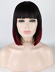 cheap -Synthetic Lace Front Wig Curly Free Part Lace Front Wig Ombre Short Black / Burgundy Synthetic Hair 12-16 inch Women's Adjustable Heat Resistant Elastic Ombre