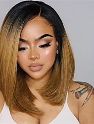 cheap -Remy Human Hair 360 Frontal Wig Bob style Brazilian Hair Straight Light Brown Wig 130% Density Women Natural Comfortable 100% Virgin Women's Short Human Hair Lace Wig Luckysnow