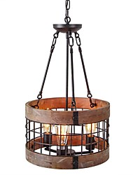 cheap -3-Light 35 cm Mini Style Chandelier Metal Wood / Bamboo Mini Painted Finishes / Wood Retro / Country 110-120V / 220-240V