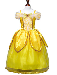 cheap -Belle Cosplay Costume Flower Girl Dress Kid's Girls' A-Line Slip Dresses Christmas Halloween Carnival Festival / Holiday Tulle Cotton Yellow Carnival Costumes Princess