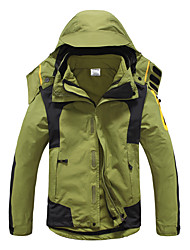 cheap -Men's Hiking 3-in-1 Jackets Winter Outdoor Patchwork Thermal / Warm Waterproof Windproof UV Resistant 3-in-1 Jacket Softshell Jacket Top Full Length Visible Zipper Skiing Camping / Hiking Hunting