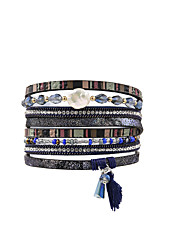 cheap -Women's Leather Bracelet Fancy Fashion British Leather Bracelet Jewelry Blue For Gift Daily