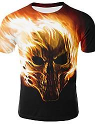 cheap -Men's Daily Basic Plus Size Cotton T-shirt - Skull Print Round Neck Yellow / Short Sleeve