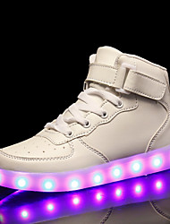 cheap -Women's Sneakers Low Heel Round Toe PU LED / Casual / Sweet Spring & Summer Black / White / Red