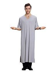 cheap -Men's Daily / Holiday Vintage Spring / Summer Long Abaya, Solid Colored V Neck Short Sleeve Polyester White / Gray