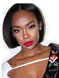 cheap -Remy Human Hair Full Lace Lace Front Wig Bob Asymmetrical Rihanna style Brazilian Hair Straight Natural Straight Natural Black Wig 130% 150% 180% Density Women Easy dressing Best Quality Natural