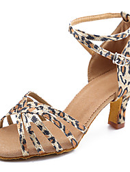 cheap -Women's Dance Shoes Satin Latin Shoes / Salsa Shoes Buckle High Heel / Sandal Customized Heel Customizable Leopard / Indoor / Leather / Practice / Professional