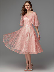 cheap -A-Line V Neck Knee Length Lace / Satin Floral / Pink Graduation / Cocktail Party Dress with Pattern / Print 2020
