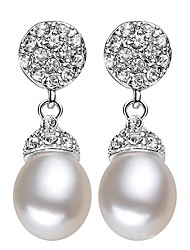 cheap -Freshwater Pearl Earrings Pearl S925 Sterling Silver For Women's Drops Glam Elegant Fashion Party Event / Party High Quality Flower Flower Series 1 Pair