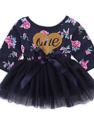 cheap -Baby Girls' Active Daily Floral Print Long Sleeve Regular Dress Black / Toddler