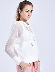 cheap -Women's V Neck See Through Hoodie & Sweatshirt Yoga Top Blouse Solid Color Elastane Zumba Yoga Running Hoodie Top Long Sleeve Activewear Lightweight Breathable Quick Dry Freedom Micro-elastic Loose