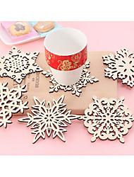cheap -Natural Wood Snowflake / Cutouts Coaster Favors - 6 pcs Piece/Set Creative / Family All Seasons
