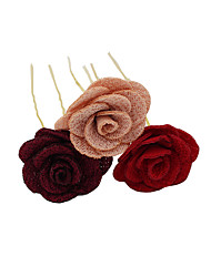 cheap -Fabrics Hair Pin with Floral 3 Pieces Wedding / Party / Evening Headpiece