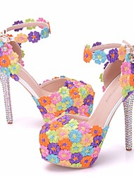 cheap -Women's Lace / PU(Polyurethane) Spring & Summer Sweet Wedding Shoes Platform Round Toe Rhinestone / Buckle Rainbow