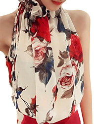 cheap -Women's Party Daily Weekend Cotton Blouse - Floral Print Halter Neck White / Summer / Sexy