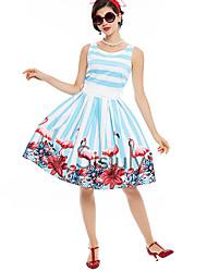 cheap -Audrey Hepburn Floral Retro Vintage 1960s Wasp-Waisted Dress JSK / Jumper Skirt Women's Costume LightBlue Vintage Cosplay Homecoming Sleeveless Knee Length