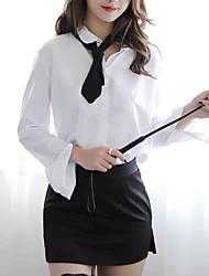 abordables -Femme Costumes de cosplay Jupes - Bloc de Couleur Fendu Blanche Taille unique / Col de Chemise / Uniformes & Tenues Chinoises / Super sexy