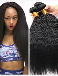cheap -6 Bundles Peruvian Hair kinky Straight Human Hair Unprocessed Human Hair Headpiece Natural Color Hair Weaves / Hair Bulk Hair Care 8-28 inch Natural Color Human Hair Weaves Fashionable Design Smooth