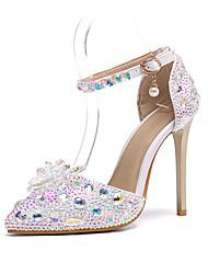 cheap -Women's Wedding Shoes Stiletto Heel Pointed Toe Rhinestone / Crystal Synthetics Fall & Winter Rainbow / Party & Evening