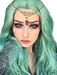 cheap -Synthetic Wig Synthetic Lace Front Wig Cosplay Wig Wavy Bouncy Curl Layered Haircut Side Part Lace Front Wig Medium Length Blue Synthetic Hair 35.5 inch Women's Fashionable Design Easy to Carry Women
