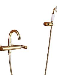 cheap -Bathtub Faucet - Art Deco / Retro Ti-PVD Tub And Shower Ceramic Valve Bath Shower Mixer Taps / Single Handle Three Holes