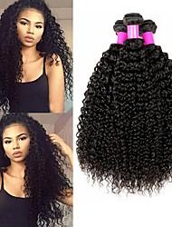 cheap -4 Bundles Kinky Curly Human Hair Unprocessed Human Hair Headpiece Natural Color Hair Weaves / Hair Bulk Hair Care 8-28 inch Black Natural Color Human Hair Weaves Silky Best Quality Thick Human Hair