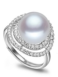 cheap -Freshwater Pearl Adjustable Ring Pearl Zircon For Women's Round Asian Glam Classic & Timeless Fashion Party Event / Party High Quality Classic Lucky 1pc / S925 Sterling Silver