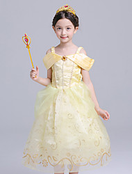 cheap -Belle Cosplay Costume Flower Girl Dress Kid's Girls' A-Line Slip Dresses Mesh Christmas Halloween Carnival Festival / Holiday Tulle Silk Yellow Carnival Costumes Lace / Cotton
