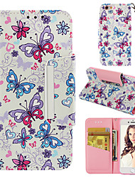 cheap -Case For Apple iPhone 6s Wallet / Card Holder / Flip Back Cover Butterfly Hard PU Leather