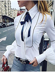 cheap -Women's Solid Colored Bow Fashion Slim Shirt Basic Daily Shirt Collar White