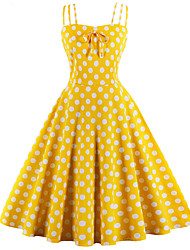 cheap -Audrey Hepburn Polka Dots Retro Vintage 1950s Summer Dress Women's Cotton Costume Black / White / Yellow Vintage Cosplay Homecoming Sleeveless Knee Length