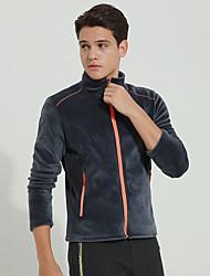 cheap -DZRZVD® Men's Hiking Fleece Jacket Winter Outdoor Solid Colored Windproof Top Full Length Visible Zipper Outdoor Exercise Outdoor Dark Grey / Black / Royal Blue