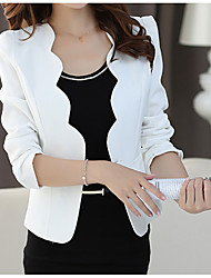 cheap -Women's Daily Basic Fall Regular Blazer, Solid Colored Notch Lapel 3/4 Length Sleeve Polyester White / Black / Slim