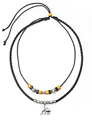 cheap -Men's Pendant Necklace Vintage Necklace Beads Elephant Artistic Simple Leather Alloy Black 45 cm Necklace Jewelry 1pc For Gift Going out