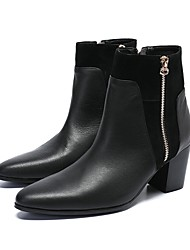 cheap -Men's Novelty Shoes Nappa Leather Fall & Winter Casual / British Boots Non-slipping Booties / Ankle Boots Black / Wedding / Party & Evening / Party & Evening / Dress Shoes / Fashion Boots
