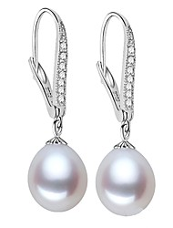 cheap -Freshwater Pearl Earrings Pearl S925 Sterling Silver For Women's Drops Glam Elegant Fashion Party Gift High Quality Classic Blessed 1 Pair