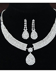 cheap -Women's Cubic Zirconia Pendant Necklace Bridal Jewelry Sets Dangle Earrings Tennis Chain Drop Blessed Unique Design Imitation Diamond Earrings Jewelry White For Wedding Party 1 set