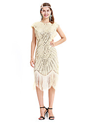 cheap -The Great Gatsby Charleston Retro Vintage 1920s Flapper Dress Dress Women's Sequin Costume Golden+Black / Beige Vintage Cosplay Party Homecoming Prom Sleeveless Midi
