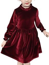 cheap -Kids Girls' Basic Solid Colored Long Sleeve Dress Blushing Pink