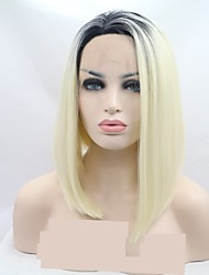 cheap -Synthetic Lace Front Wig Curly Bob Layered Haircut Lace Front Wig Short Black / White Synthetic Hair 12 inch Women's Women Black White Sylvia