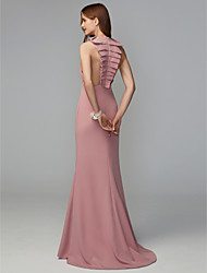 cheap -Fit & Flare Jewel Neck Midi / Sweep / Brush Train Jersey Bridesmaid Dress with Draping / Open Back