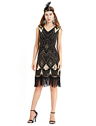 cheap -The Great Gatsby Charleston Vintage 1920s Flapper Dress Dress Women's Sequin Costume Black+Sliver / Golden+Black / Red Vintage Cosplay Party Homecoming Prom Sleeveless Above Knee