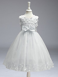 cheap -A-Line Knee Length Flower Girl Dress - Polyester Sleeveless Jewel Neck with Appliques / Bow(s) / First Communion