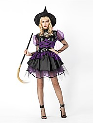 cheap -Witch Women's Adults' Halloween Christmas Christmas Halloween Carnival Festival / Holiday Polyster Outfits Purple Solid Colored Christmas